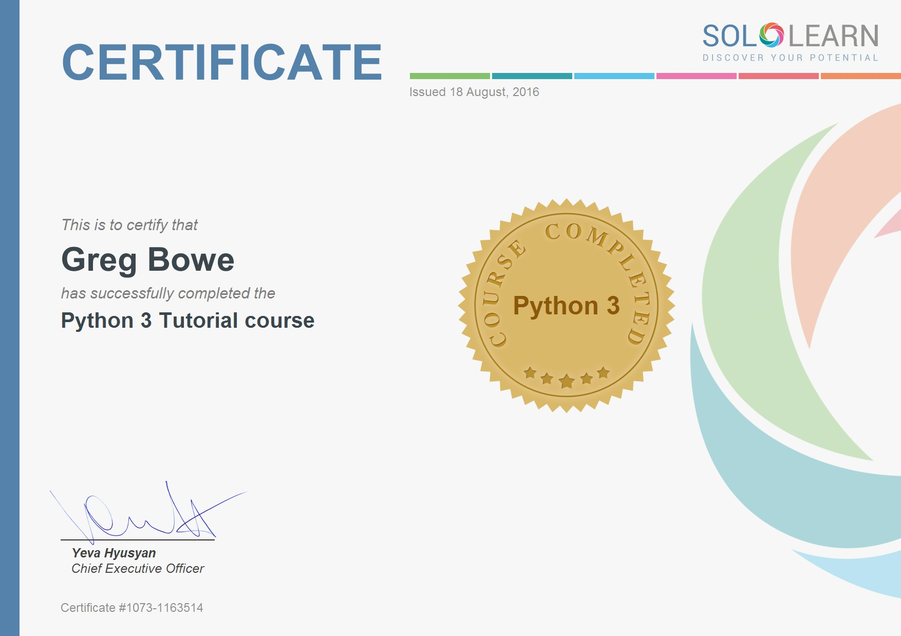 python learning certificate