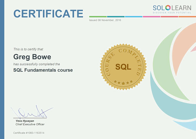 sql learning certificate